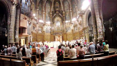 choir singing inside the Spain church Footage