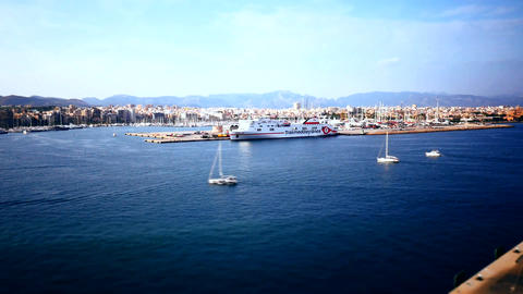 Spain, Palma coastal view from the top of a cruise ship Footage