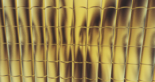 gold foil tiles texture background 3D rendering Animation