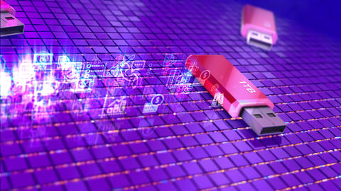 USB Flash Drive with sign 1TB CG動画