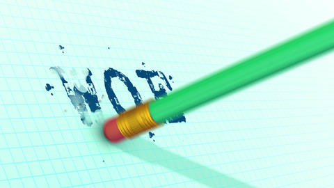 An eraser on a pencil is erasing typed WOE word Animation