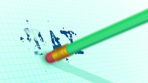 An eraser on a pencil is erasing typed word TAX Animation