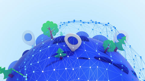 Simple world map with pins and trees Animation