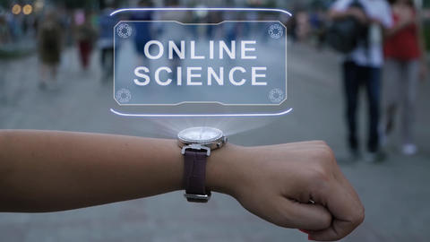 Female hand with hologram Online science Footage