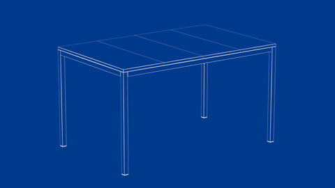 3d model of dining table Animation
