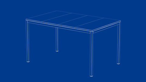 3d model of dining table, Stock Animation