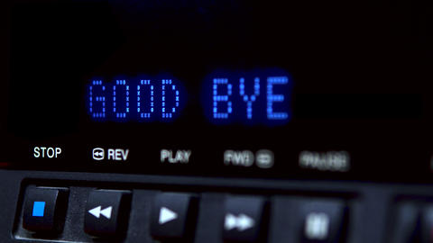 "Disc player with screen. The word ""good bye"" is written on the screen Live Action"