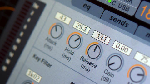 Sound tuning on a professional electronic mixer. Control panel for tuning sound Live Action