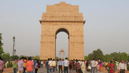 India Gate with tourists making photograph,New Delhi,India Footage