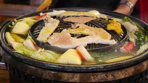 4K pork or beef ,Seafood BBQ buffet with Vegetable and soup in thai style Footage