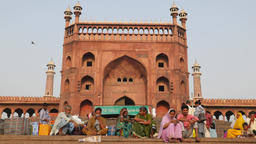 People sitting in front of Jama mosque,New Delhi,India Footage