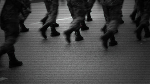 Marching soldiers on the street Footage