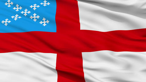 Episcopal Religious Close Up Waving Flag Animation