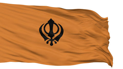 Khalistans Religious Isolated Waving Flag Animation