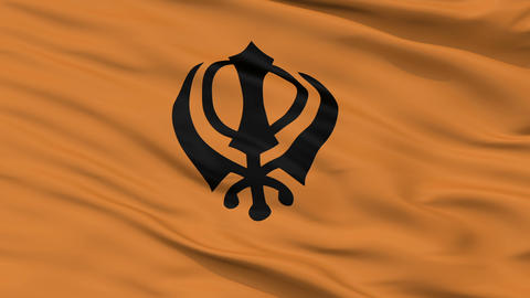Khalistan Religious Close Up Waving Flag Animation