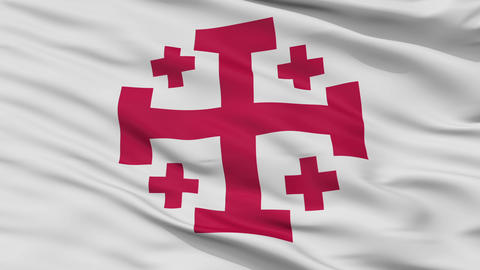 Jerusalem Cross Religious Close Up Waving Flag Animation