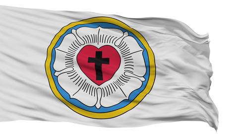 Lutheran Rose Religious Isolated Waving Flag Animation