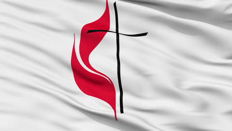 Methodist Cross Flame Religious Close Up Waving Flag Animation