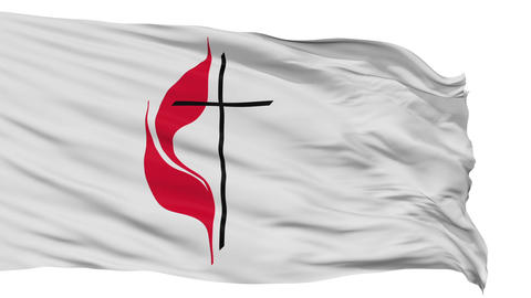 Methodist Cross Flame Religious Isolated Waving Flag Animation