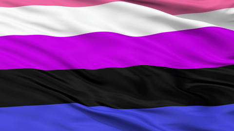 Gender Fluidity Pride Close Up Waving Flag Animation