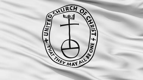 United Church Christ Religious Close Up Waving Flag Animation