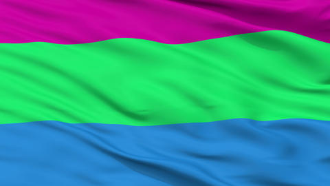 Polysexual Pride Close Up Waving Flag Animation