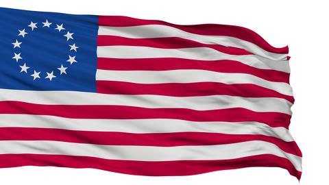 13 Stars Betsy Ross USA Isolated Waving Flag Animation