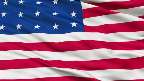 20 Stars USA Close Up Waving Flag Animation