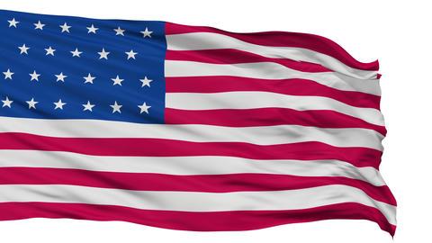 23 Stars USA Isolated Waving Flag Animation