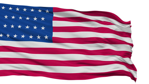 26 Stars USA Isolated Waving Flag Animation