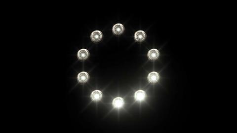 light loading wheel - 30fps spinning loop - white lights shining on black backgr Animation
