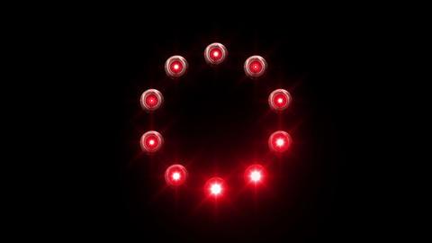 light loading wheel - 30fps spinning loop - red lights shining on black backgrou Animation