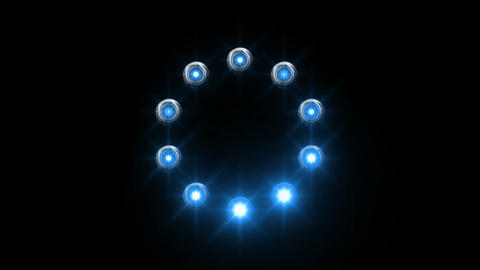 light loading wheel - 30fps spinning loop - blue lights shining on black backgro Animation
