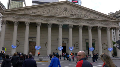 Front of Buenos Aires Cathedral in May square during Bicentennial independence d Footage