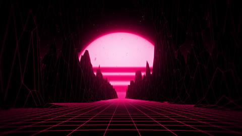 3D Reddish Pink Neon Retro Synthwave VJ Loop Motion Background Videos animados