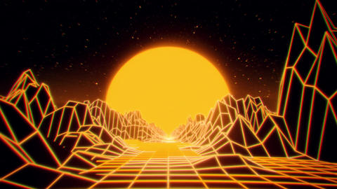3D Yellow Neon Retro Synthwave VJ Loop Motion Background Animation