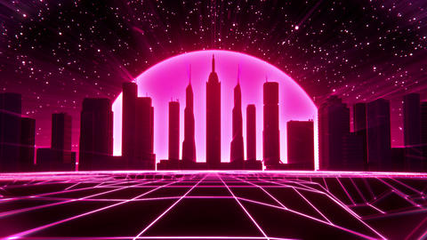 3D Reddish Pink Neon Retro Synthwave City VJ Loop Motion Background Animation