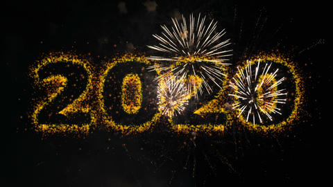 Happy new year 2020 light lettering background Animation