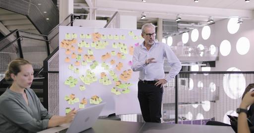 Mature senior executive holding a brainstorm meeting Live Action