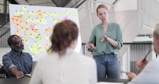 Female executive holding a brainstorm meeting Live Action