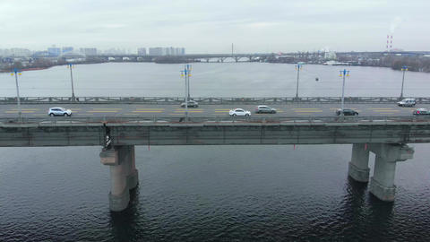 Camera movement along the automobile bridge Footage