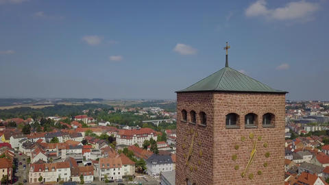 Old european architecture, tall clock tower in Germany, aerial shot in 4k Live Action