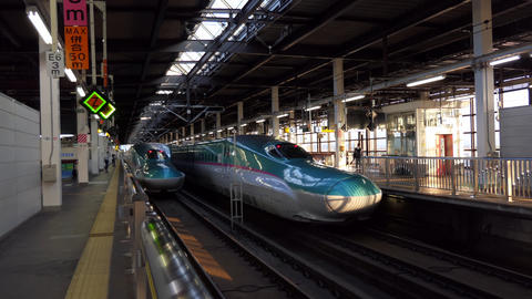 Japanese Transportation Train Station With Shinkansen Bullet Trains In Japan Live Action