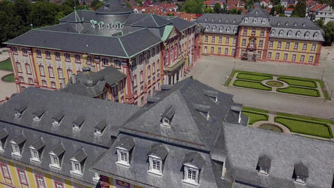 Old german palace with historic architecture, from high angle, 4k Live Action