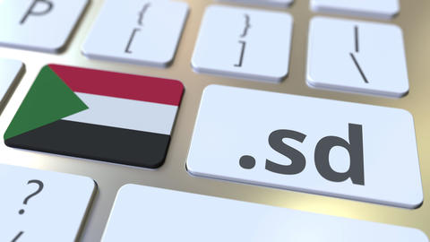Sudanese domain .sd and flag of Sudan on the buttons on the computer keyboard Live Action