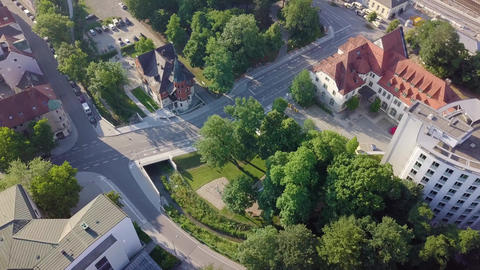 High angle view on a part of a modern german city with its architecture, 4k Live Action
