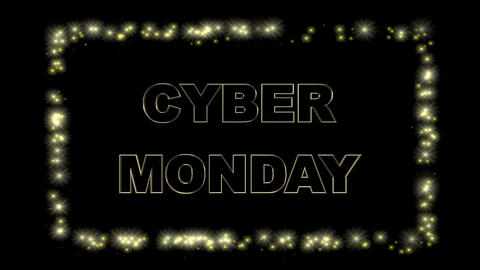Cyber Monday bold outlined text with Split-flap display lettering and border, against black Animation