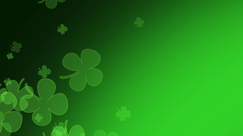 St. Patrick's Day flying clover leaves background with space for your text. St. Patrick's day theme Animation