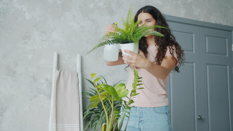 Slow motion of young maid sprinkling flowers with water caring for plants Live Action
