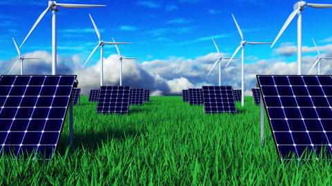 3d rendering ecology green landscape with solar battery and windmill. Computer Footage